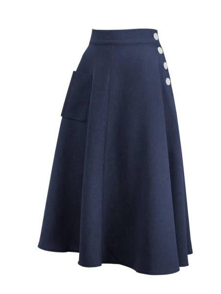 House of Foxy Rock 1940s Whirlaway Skirt Navy dunkelblau