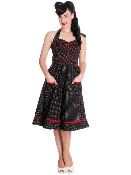Hell Bunny Neckholder Kleid Vanity schwarz rot