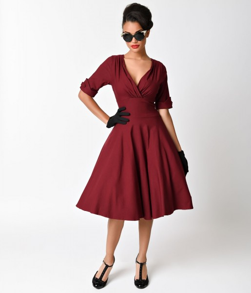 Unique Vintage Kleid Delores Swing Dress weinrot