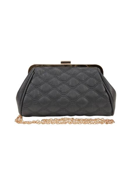 Sixties Handtasche Quilted Clutch schwarz