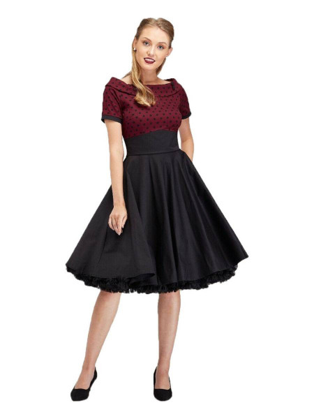 Dolly & Dotty Kleid Darlene Burgundy Polka weinrot