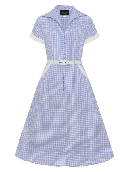 Collectif Hemdblusenkleid Marjorie Contrast Swing Dress hellblau