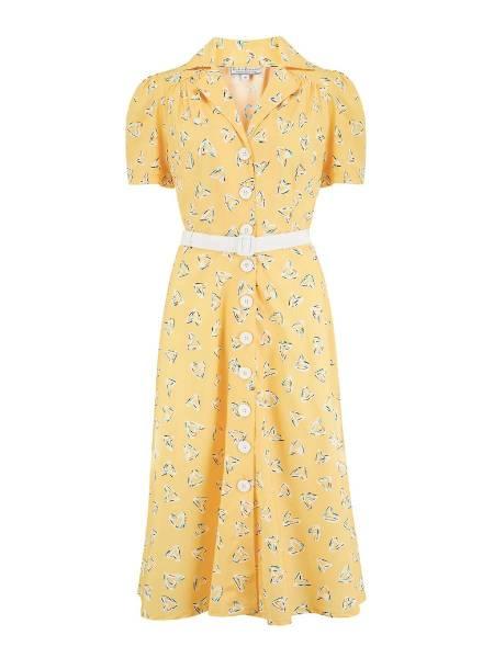 Rock n Romance Kleid Charlene Yellow Abstract Heart Print
