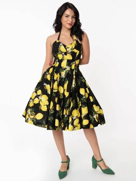 Unique Vintage Kleid Orchard Swing Dress Black Yellow Lemon