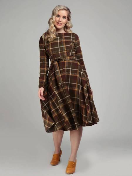 Collectif Kleid Arwen Mosshill Check Swing Dress kariert