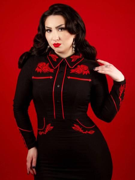 Katakomb Pencilkleid June Dress schwarz rot