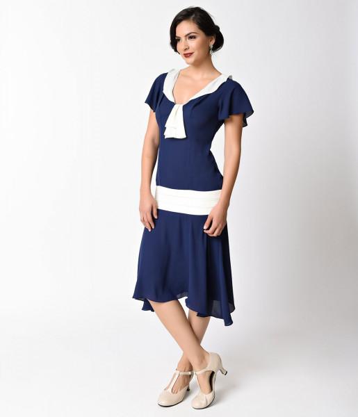 Unique Vintage 20er Jahre Kleid Wilshire dunkelblau