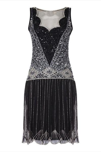 Gatsbylady 20er Jahre Kleid Elaina schwarz silber
