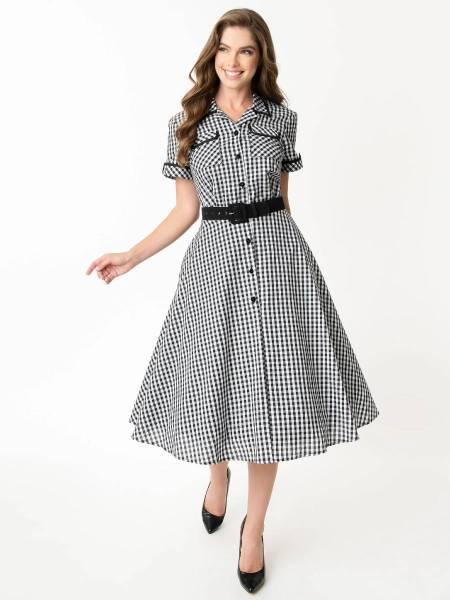 Unique Vintage Kleid I Love Lucy Ethel Swing Dress kariert