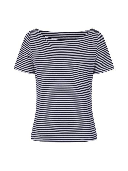 Banned T-Shirt Boatneck Top Navy Stripe