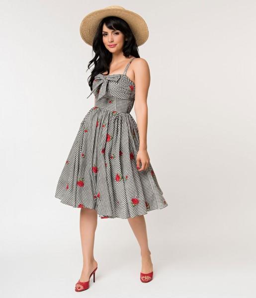 Unique Vintage Kleid Golightly Gingham Roses
