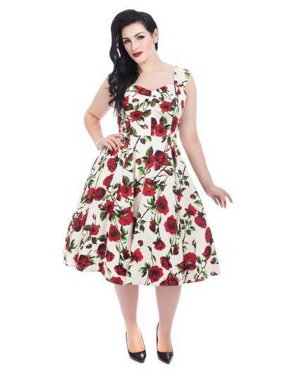 Hearts and Roses Petticoatkleid Ditsy Rose Floral Summer Dress creme
