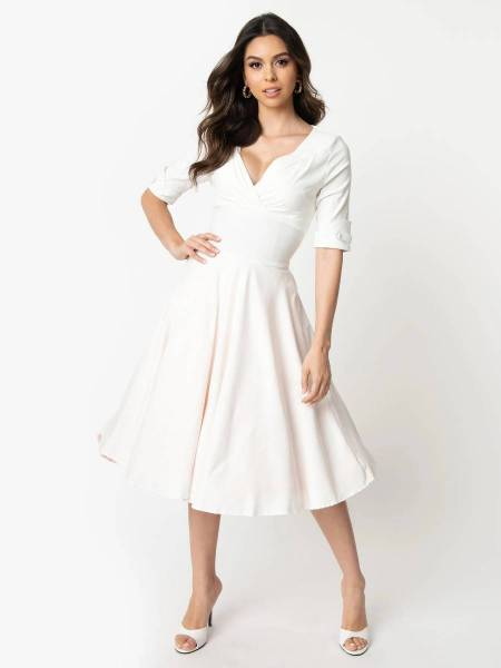 Unique Vintage Kleid Delores Swing Dress Ivory creme