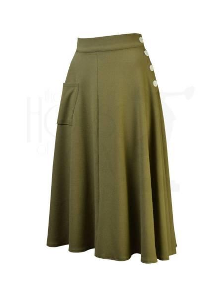 House of Foxy Rock 1940s Whirlaway Skirt Khaki