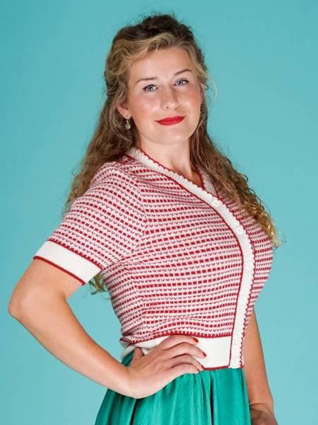 Emmy Strickjacke Summertime Blues Cardigan Cream Red
