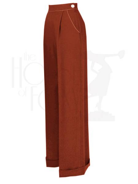 House of Foxy Hose 1940s Hepburn Pleated Trousers Rust