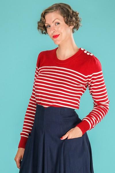 Emmy Pullover Breton Stripe Sweater rot creme