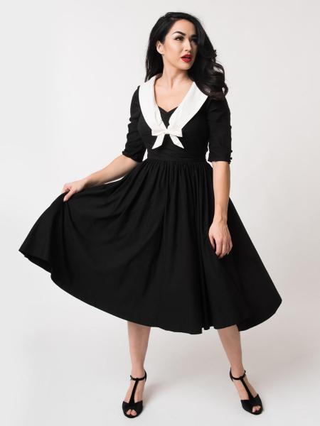 Unique Vintage Kleid Julien Swing Dress s/w