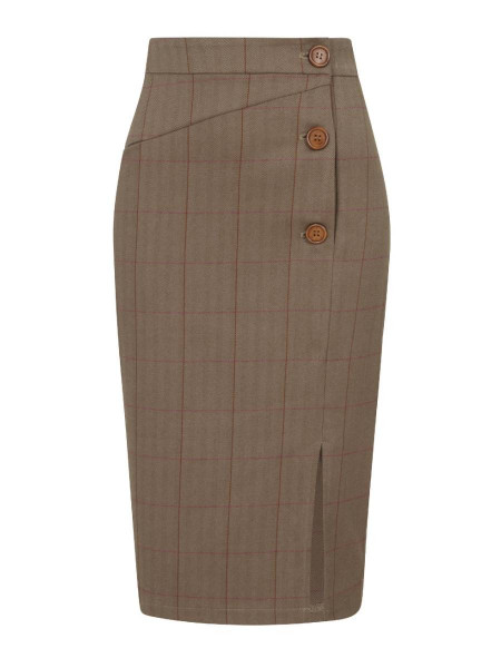 Collectif Rock Sloan Herringbone Pencil Skirt braun