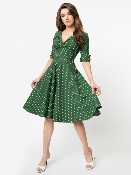 Unique Vintage Kleid Delores Pin Dot grün