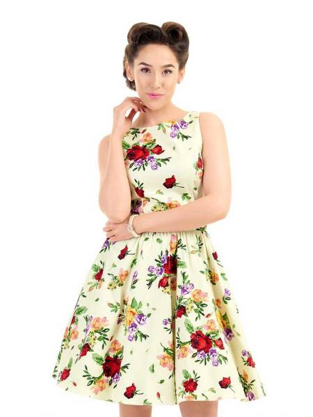 Lady V London Kleid Tea Dress Classic Roses