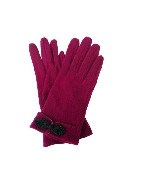 Handschuhe Knot Button Gloves weinrot