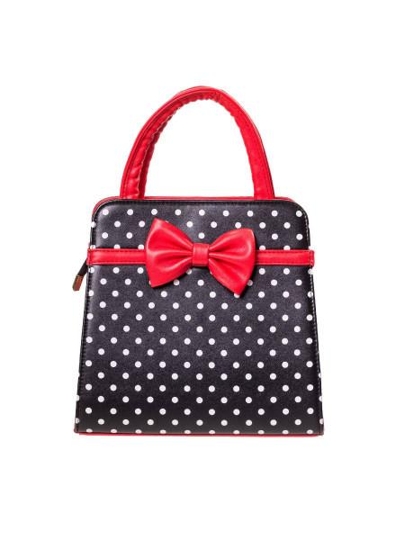 Banned Handtasche Carla Bag schwarz weiß Polka