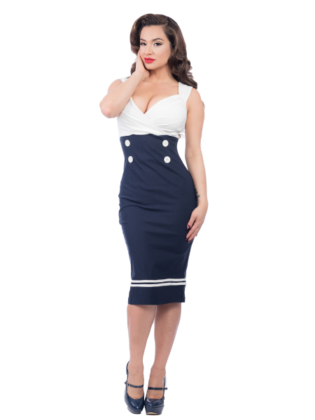 Steady Clothing Pencil Kleid Set Sail creme dunkelblau