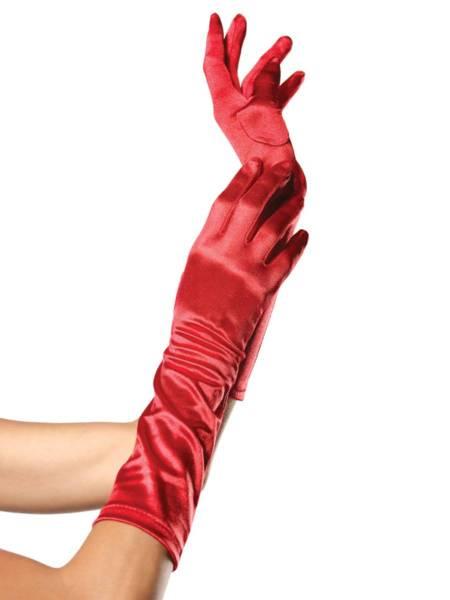 Satinhandschuhe lang rot
