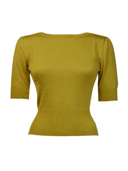 Pretty Retro Pullover Bateau Sweater Mustard senfgelb