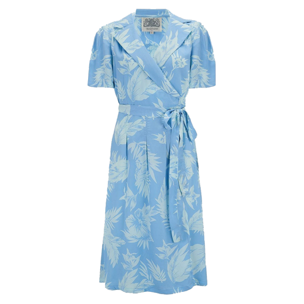 Seamstress of Bloomsbury Kleid Peggy Wrap Dress Blue Hawaiian