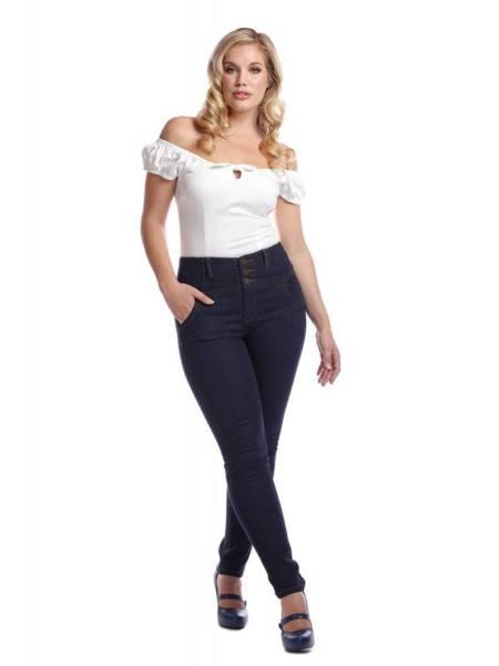 Collectif Rebel Kate Stretch Denim Jeans Navy