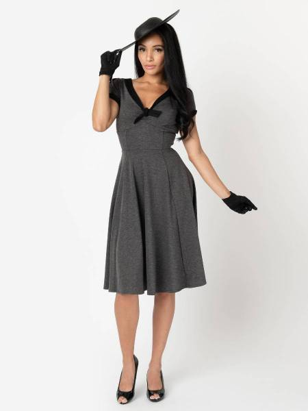 Unique Vintage Kleid Natalie grau schwarz
