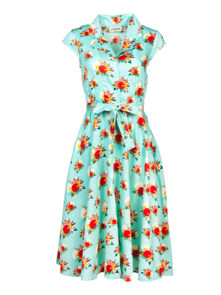 Circus Kleid Ava Dress Vintage Floral hellblau