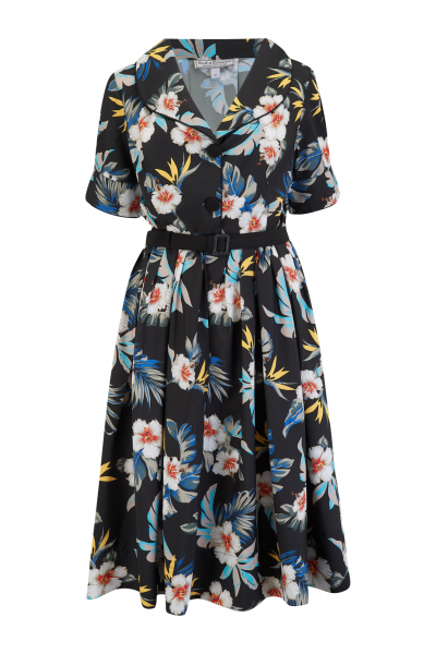 Rock n Romance Kleid Ritzy Black Hawaiian Print