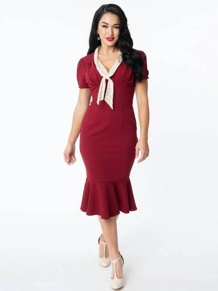 Unique Vintage Kleid Holloway Dress weinrot