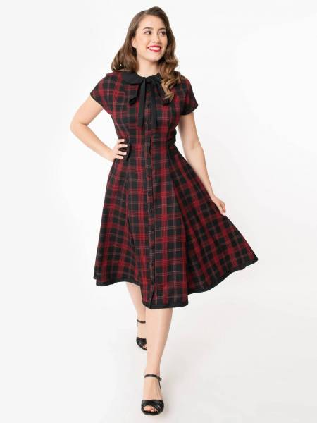 Unique Vintage Kleid Brandwyn rot schwarz kariert