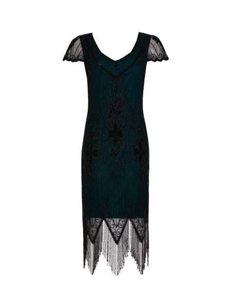 Gatsbylady 20er Jahre Kleid Annette petrol schwarz mit Fransen