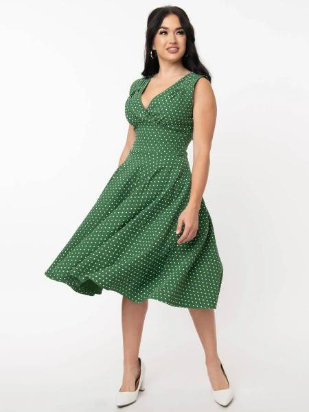 Unique Vintage Sommerkleid Delores Green PIn Dot Sleeveless