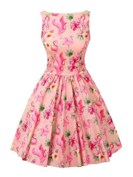 Lady V London Kleid Tea Dress Pinky Flamingo