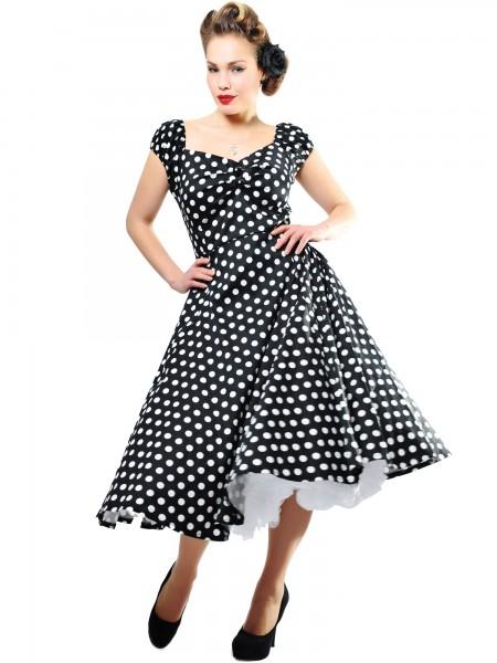 Collectif Kleid Dolores Doll Dress Polka schwarz-weiß
