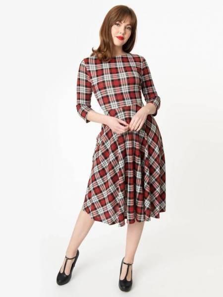 Unique Vintage Kleid Nicole grau rot kariert