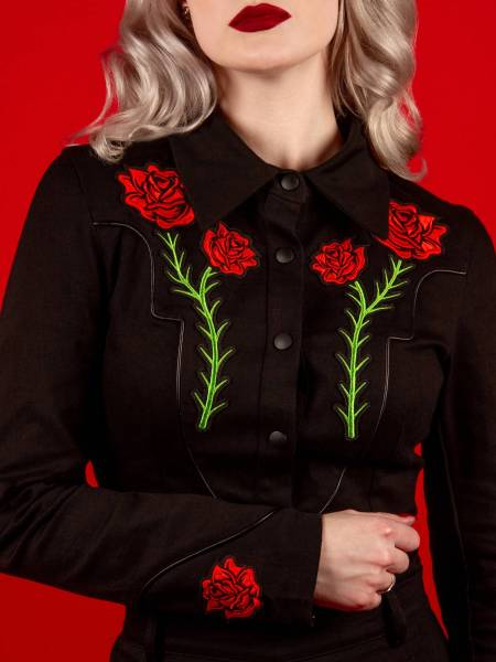 Katakomb Westernbluse Dallas Top Black Rose