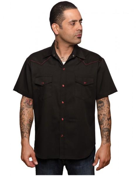 Steady Clothing Westernhemd schwarz rot