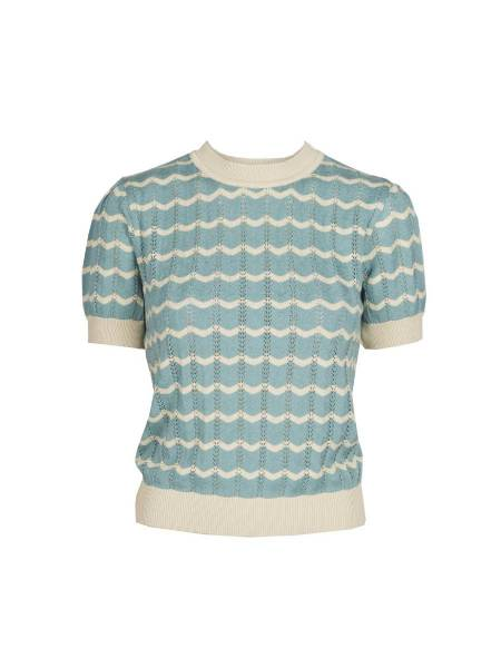 Palava Stricktop Eve Knitted Top Pointelle Blue Shell
