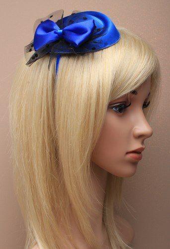 Mini-Pillbox-Hütchen royalblau mit Haarreif