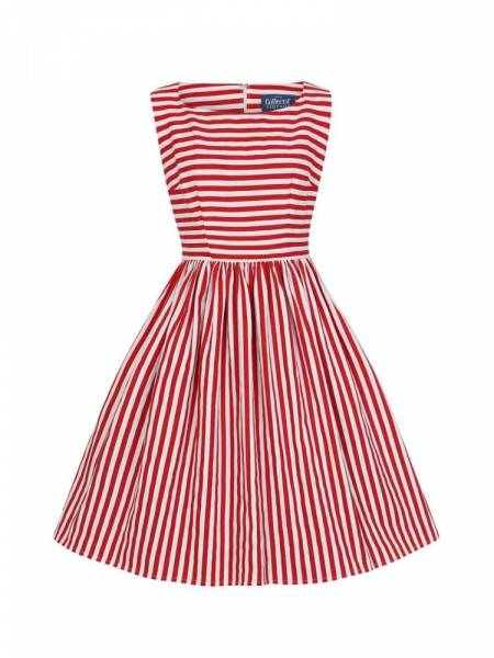 Collectif Kleid Candice Striped Swing Dress rot weiß
