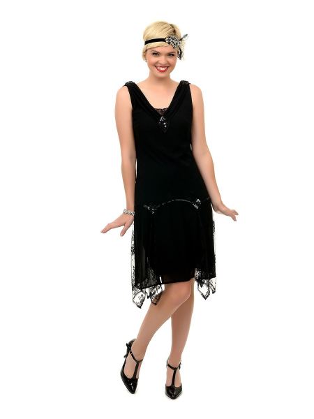 Unique Vintage 20er Jahre Kleid Hemingway Flapper Dress schwarz