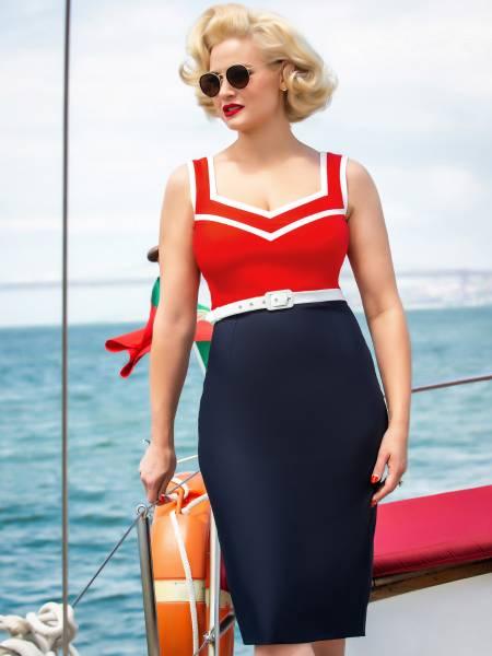 Glamour Bunny Pencilkleid Barbara Dress rot marine