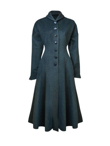 House of Foxy Mantel 1950s Couture Long Coat grün